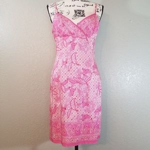 Muse Pink Floral Paisley Embellished Silk Dress 10
